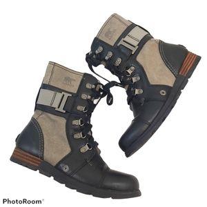Sorel Black Major Carly Lace Up Combat Boots sz 6